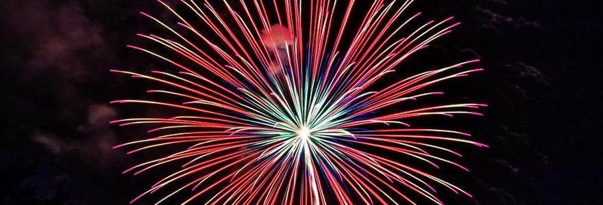 Photo d'un feu d'artifices tiré de nuit à l'occasion d'un anniversaire